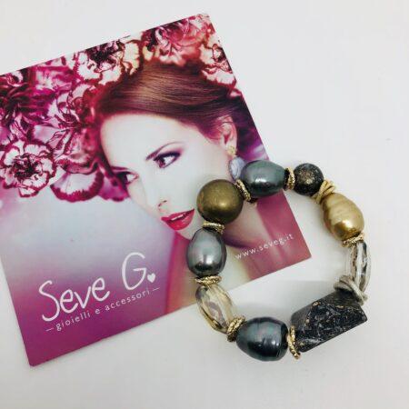 bracciale, perle scaramazze, legno, cristalli , dorato, argentato , elastico