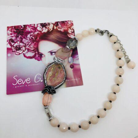 collana grigia rosa marcassite argento, argento brunito