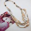 collana perle, rosa, quarzo, perle , grigio, argento