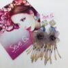 orecchini, nappina di cristalli, fiore resina , luce , viola ,lilla , rosa