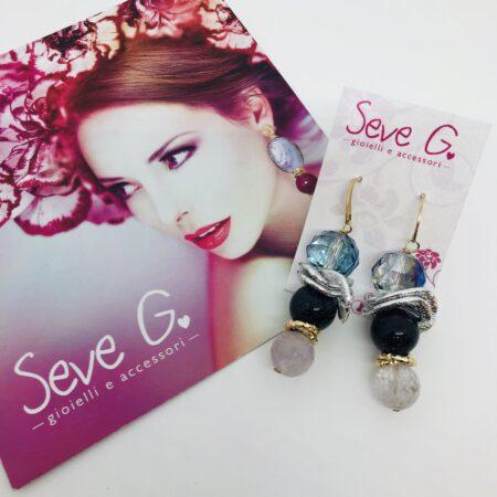 orecchini, ametista viola blu agata dorato e argentato