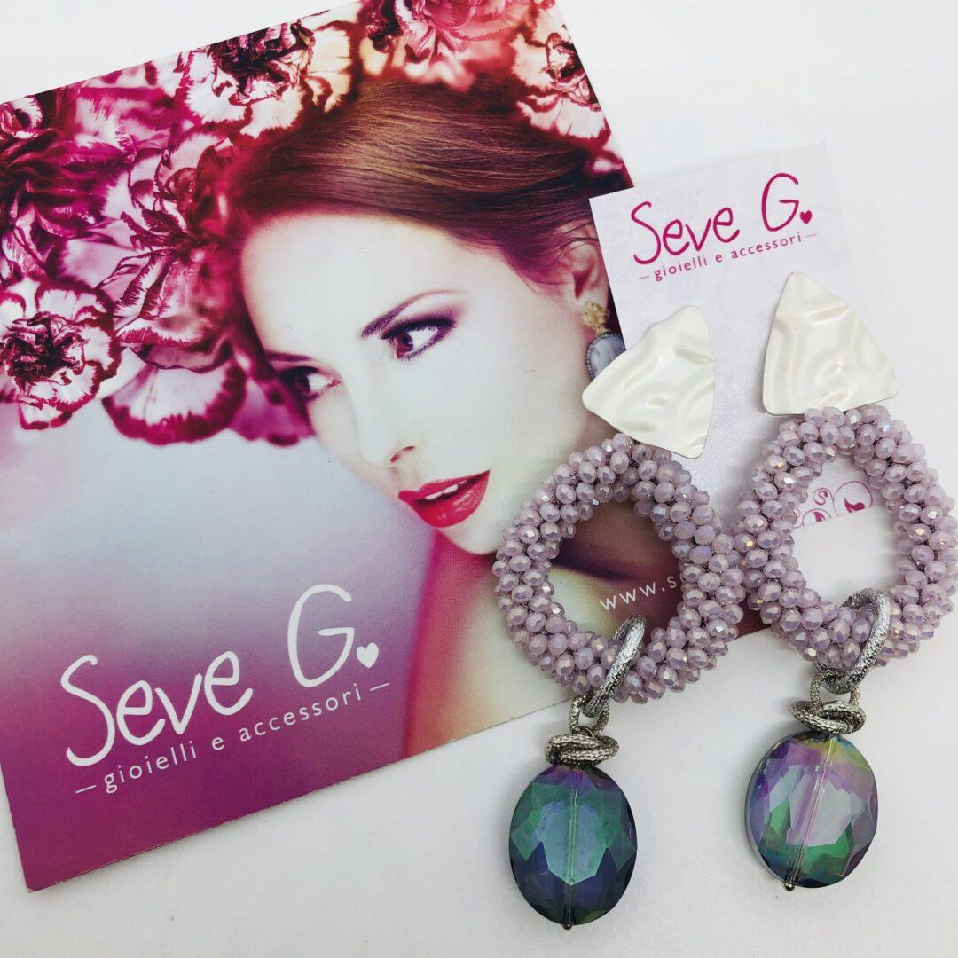 orecchini, pendenti, glicine, cristalli