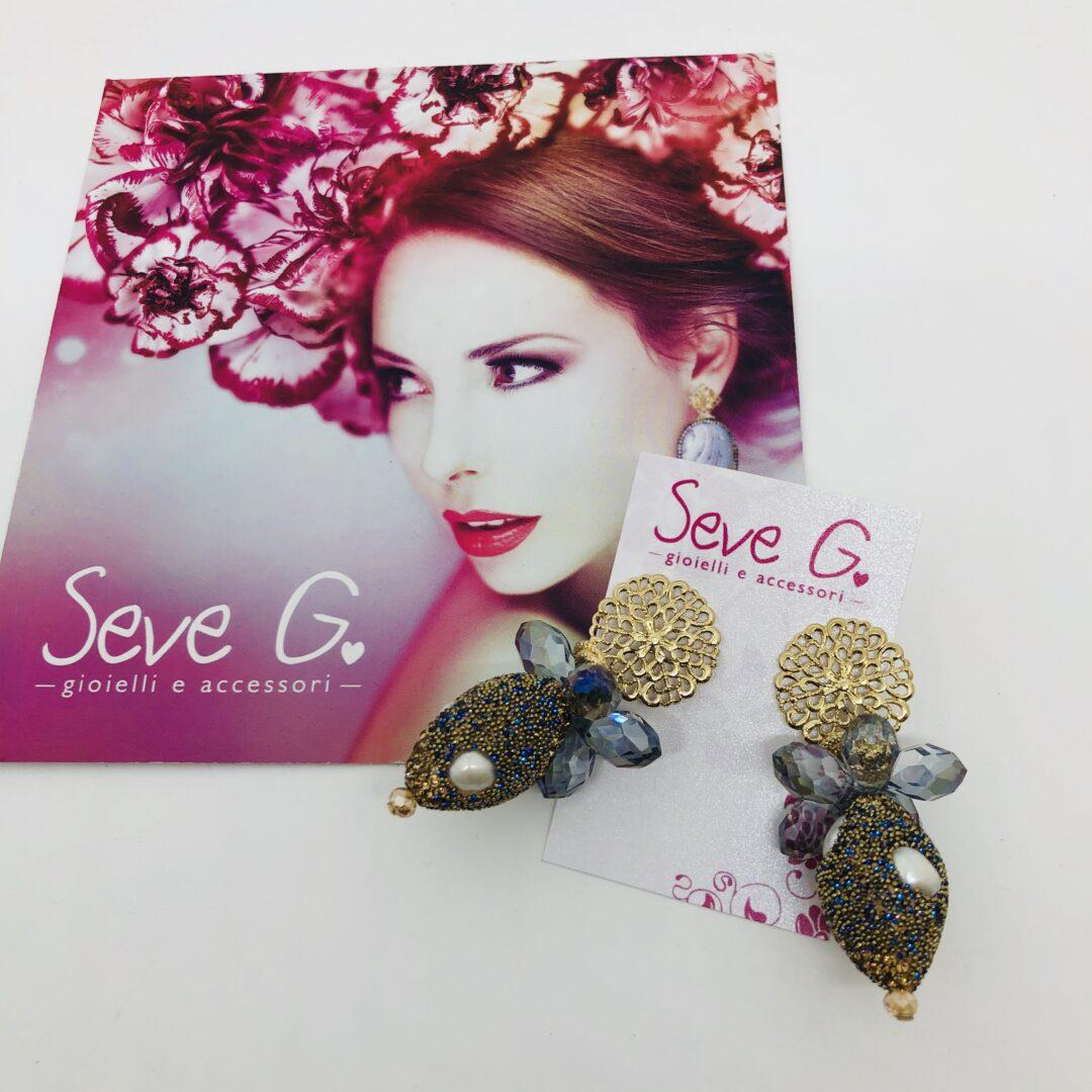 orecchini dorato blu strass perle
