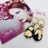 orecchini blu oro foglia oro