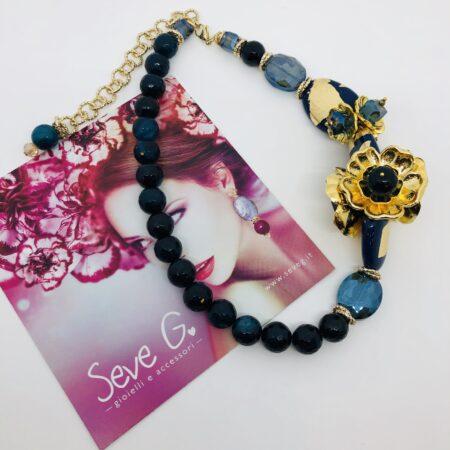 collana, blu, agata, pietre, fiori. oro