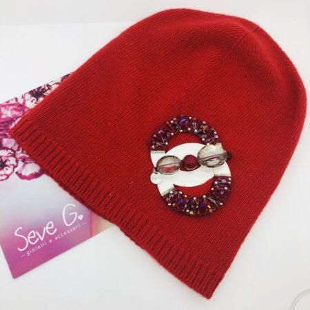 cappello lana cashnere rosso argento perline