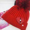 cappello pon pon rosso cuore in ecopelle stress