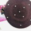 basco in lana marrone con borchie argento con fiocco in raso bicolore cristalli e pietre