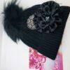 cappello seve g nero fiore piastra metallo nero argento