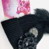 cappello pon pon nero fiore raso piastra metallo nero argento