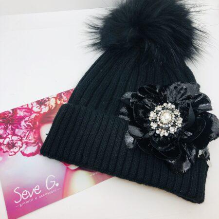 cappello, pon pon nero argento strass fiore lamè