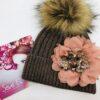 cappello seveg decorazione fatto a mano fiore pon pon rosa