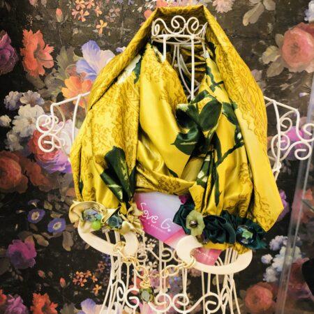 sciarpa gioiello raso seta giallo verde lime