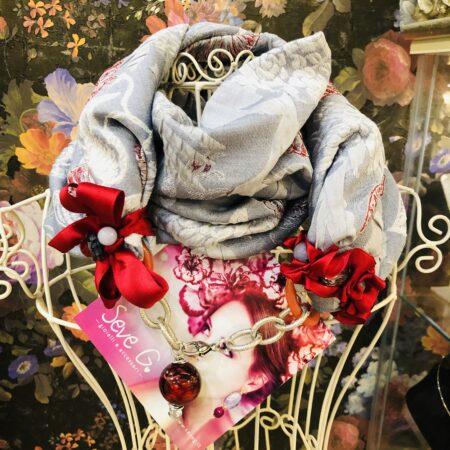 sciarpa, gioiello, damascata