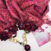 sciarpa damascata rosa rossa fuxsia