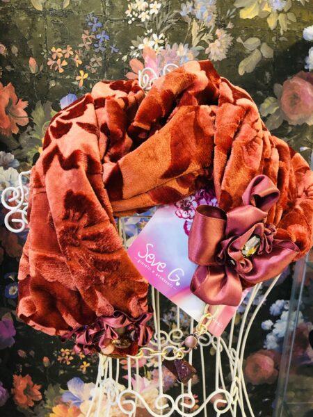 sciarpa velluto damascata tono su tono
