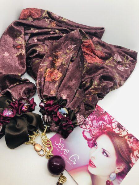 sciarpa velluto fantasia floreale pietre fiocchi