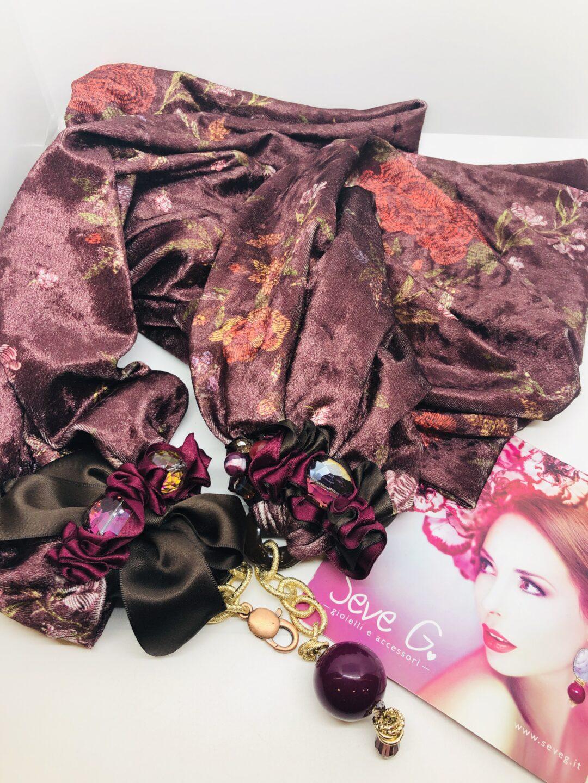 sciarpa velluto viola vinaccio bordoaux fiori