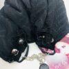 sciarpa gioiello damstata geometrica spiegata nero