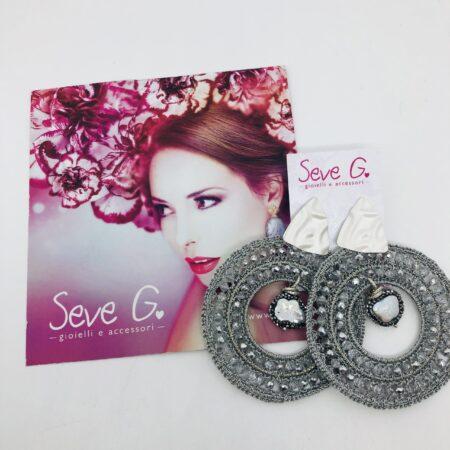 orecchini uncinetto argento satinato perla madreperla marcassite