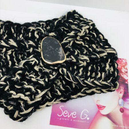 Fascia nero e oro lana lamé