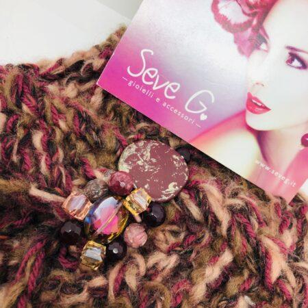 Fascia bordoaux rosa antico pietre cristalli resina