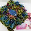 Fascia lana, verde viola blu foglie