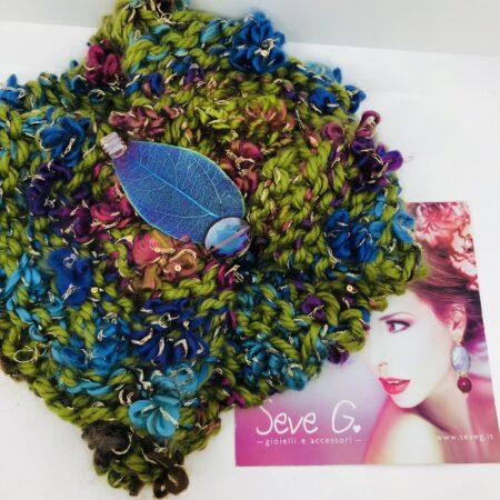Fascia collo turbante, foglia blu rosa verd