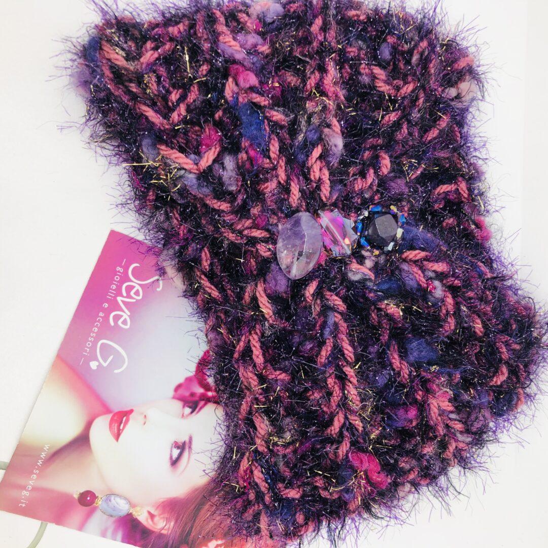 Fascia, collo, turbante viola rosa multicolore
