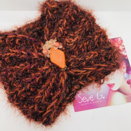 Fascia collo ruggine bordeaux resina fiori