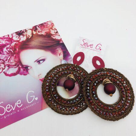 orecchini uncinetto bronzo Bordeaux