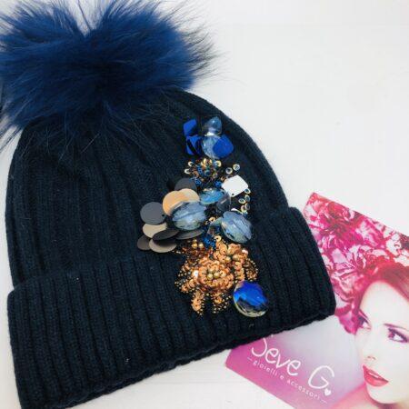 Cappello Blu in lana con applicazioni paillette