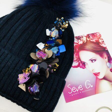 Cappello, pon pon, paillettes, blu , rosa , bronzo
