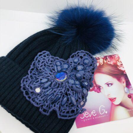 Cappello Blu fiore in pizzo macrame