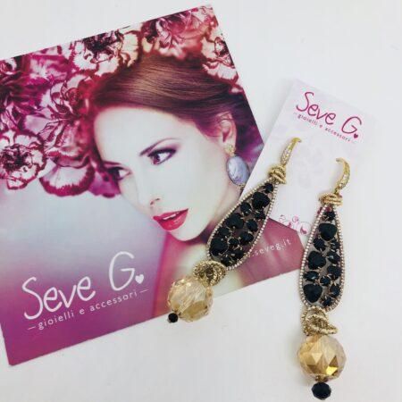 orecchini, nero, oro, strass, cristalli