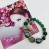Bracciale verde pietre dure perle cristalli malachite