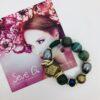 Bracciale pietre verde resina perle e cristalli