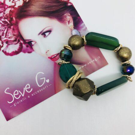 Bracciale verde pietre cristalli resina