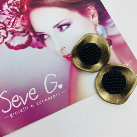 orecchini, clips bottone nero oro