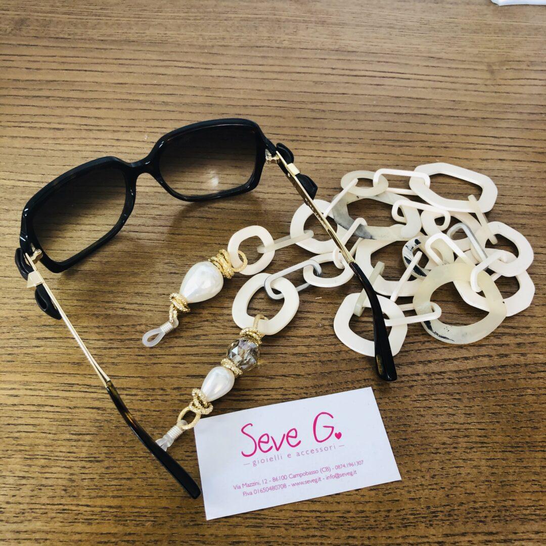 catene per occhiali resina perle cristalli