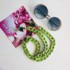 Catena occhiali verde catena piatta cristalli