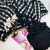 sciarpa, nero, oro, panna , lana , pietre, cristallo