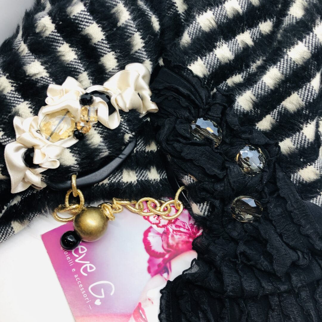 sciarpa, panna , nero, lana
