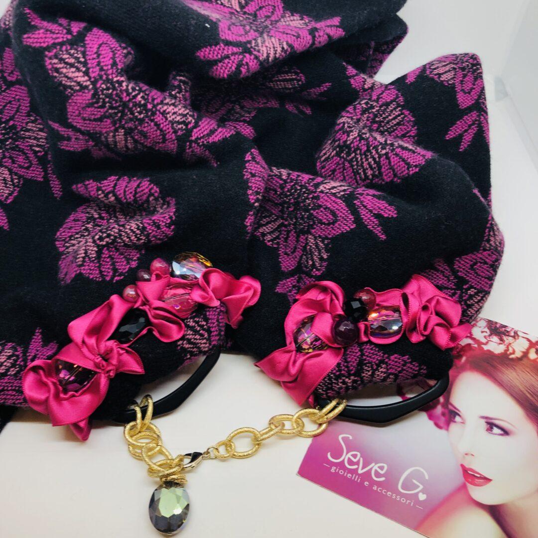 sciarpa, gioiello , rosa , nero , fiori , lana