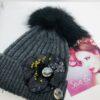 Cappello, pon pon , nero, grigio , fiore