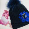 Cappello Blu fiore paillette pon pon
