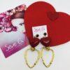 orecchini cuore rosso cuore oro