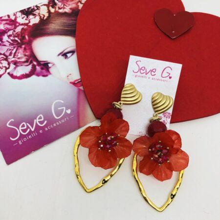cuore oro fiore rosso