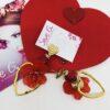 orecchini, cuore, oro, rosso , pietra cuore