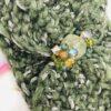 fascia, collo, turbante, verde, pietre, cristalli, verde salvia
